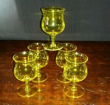 Vintage Retro Bright Citrine Yellow 6 Ounce Wine Cordial Glasses Set of 5 Groovy