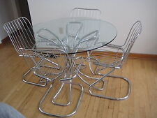 Midcentury Italian Chrome And Gl Dining Table Four Chairs