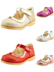 Girl's Party Dress Shoes Mary Jane Glitter Gold or Red Color Toddler size