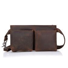 Men Crazy Horse Leather Tactical Satchel Gadget Chest Shoulder Sling Belt Bag