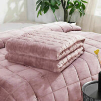 VELVET WEIGHTED BLANKET ANXIETY AUTISM DEPRESSION SLEEP THERAPY PINK/GREY/SILVER