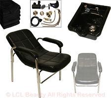 Black Acrylic Fiber Shampoo Bowl Sink Comfort Curve Chair Beauty Salon Equipment