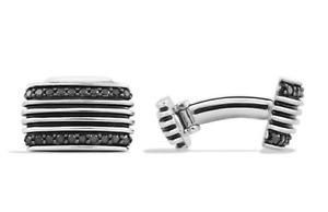 DAVID YURMAN - Royal Cord Black Diamond Cuff Links Silver