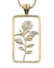 "Rose Pendant Hand cut Rose Medallion,14K and Rhodium,1"" x 1-3/4"" high ( # 832 )"