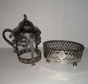 Two Antique Marked Sterling Salt Cellars Dutch & New York Makers No Glass