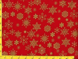 Gold Snowflakes on Red Christmas Quilting Sewing Fabric by Yard #3094