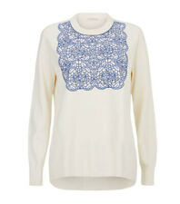 Tory Burch Womens Mindi Cream Blue Sweater Jumper Size XS