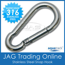 8mm 316 STAINLESS STEEL SNAP SPRING HOOK - Boat/Marine/Sailing/Shade/Sail/4x4