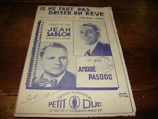 JEAN SABLON & ANDRE PASDOC - Briser un rêve - PARTITION