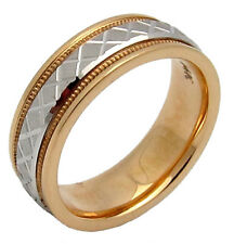 WOMENS 14K TWO-TONE GOLD FANCY WEDDING BAND SATIN 7.5GR