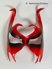 Red Leather Mask Horns Masquerade Devil Halloween Cosplay Costume Accessory