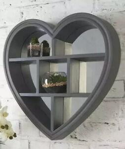 New Gift Grey Love Heart Shelf Mirror Hallway Bedroom Bathroom Home Decor 45cm
