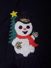 Vintage Snowman  Christmas Tree Popcorn Melted Plastic  Hanging Decoration