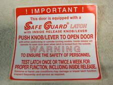 Walk In Cooler Freezer Kason Door Latch Safe Guard Safety Warning Label Sticker