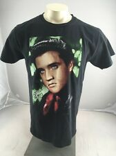 VTG Elvis Presley Portrait Black Glitter TShirt Size M The King Rock and Roll