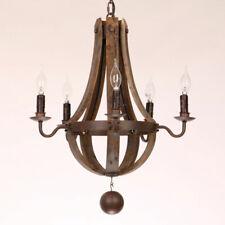Rustic Reclaimed Wood Chandelier Lighting Kitchen Ceiling Fixture with 5 Light