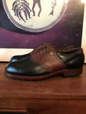 New VINTAGE FOOTJOY CLASSICS MENS 10 E GOLF SHOES 51243 MADE IN USA BLACK BROWN