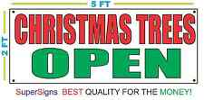 2x5 Christmas Trees Open Banner Sign New Larger Size Red & Green