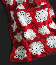 "NEW Red & White Snowflake AFGHAN Throw 55x72"" Acrylic Hand Crocheted FREE SH"