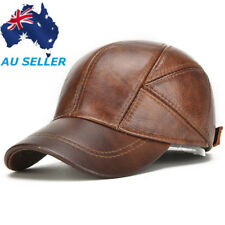 AU Winter Mens Hats With Ear Flaps Men's Genuine Leather Baseball Caps 3 Colors