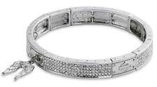 Harley Davidson® Downswept Wing Bar Shield Crystal Stretch Statement Bracelet