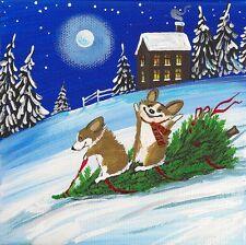 4x4 Print Of Painting Folk Art Ryta Pembroke Welsh Corgi Xmas Tree Snowman Gift