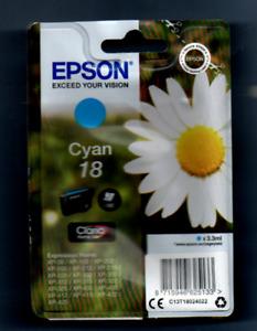 EPSON PRINTER INK CARTRIDGE GENUINE  UNOPENED  CYAN 18  NEW   ORIGINAL PACKAGING
