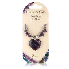 Hermosa Amatista púrpura amor corazón Cristal Chip & encanto Natures Regalo Collar De Gema
