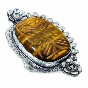 Carved Tiger'S Eye Gemstone  Handmade Ethnic Ring Size 8