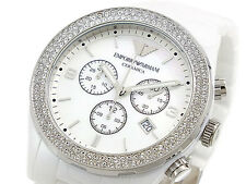 NEW EMPORIO ARMANI WHITE CERAMIC CRYSTALS LADIES WATCH AR1456