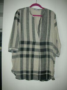 NWOT Alembika 3/4 Sleeve Brown Plaid Tunic Blouse Size 1