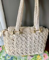 VINTAGE 60'S OFF WHITE RAFFIA RATTAN WICKER STRAW SHOULDER TOTE PURSE BASKET BAG