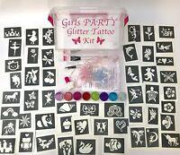 Girls PARTY GLITTER TATTOO KIT 158 stencils 8 glitters glue PERSONALISED FREE
