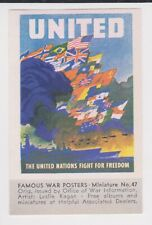 ORIGINAL WW II UNITED NATIONS POSTER STAMP / MINI PIC #47 TIDEWATER OIL CO