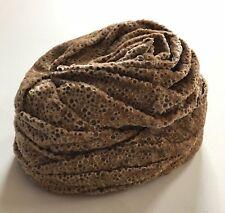 Vintage 1950s CORALIE Velvet Chenille Turban Hat Embossed Dot Fawn Beige Pleated