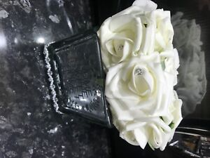 White Roses in Mirror Cube Artificial Plant (Home Decor) home sweet home