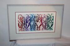 Original Lithograph Nude Dancing Women Signed David Warren Framed 1990