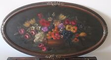 Antique Victorian Oval Flower Oil Painting on Board Primitive French Cottage Big