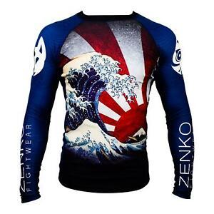 ZENKO FIGHTWEAR The Great Wave Rashguard Long Sleeve Compression Rash Guard BJJ