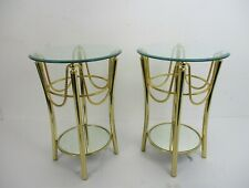 Pair Couple Stylish Side Tables Mirrored Beveled Glass Madrid  Hollywood Regency