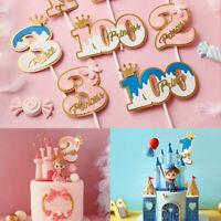 Crown Diamond Happy Birthday Cake Topper Cupcake Dessert Decor Party Supplies