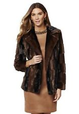 NWT Adrienne Landau Faux Fur Sheared Mink Jacket Coat Brown & Black Large BEAUTY