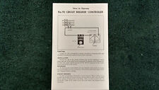 LIONEL # 92 CIRCUIT BREAKER - CONTROLLER INSTRUCTIONS PHOTOCOPY