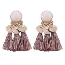 Vintage Lady Tassel Earrings Dangle Alloy Resin Bohemian Fashion Pendant Jewelry Coffee