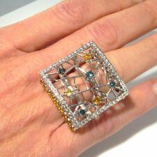 Fancy Canary Blue White Diamond Ring En Tremblant Ring Kinetic Motion 18K Gold