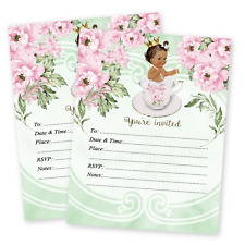 Baby shower princesses greeting invitations ebay princess baby girl shower invitations tea baby shower luncheon birthday qty 20 filmwisefo