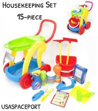 Child's 15-piece Housekeeping Cleaning Cart Set Hand Vacuum Sounds Preschool Lot