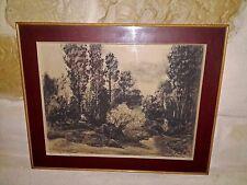 tableau fusain AUGUSTE DURAND ROSE encadrement A. FOCARDI