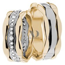 0.63Ctw His & Her Diamond Matching Wedding Ring Set Solid 10K Gold Two Tone 7mm