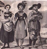 Gravure Costumes Tyroliens Tyrol Autriche Empire d'Autriche Tirolo Tyrol Tiroul